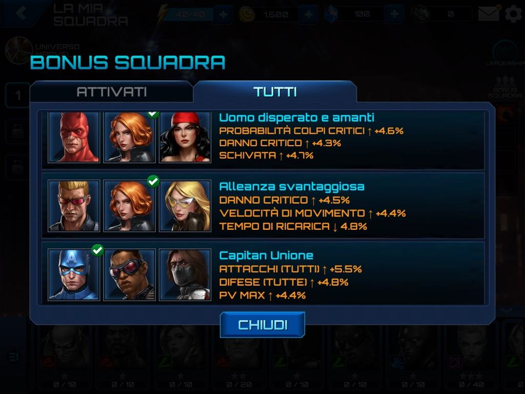 MARVEL Future Fight Bonus Squadra