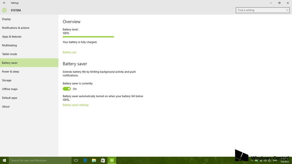 Aumentare durata della batteria su Windows 10 Battery saver 1