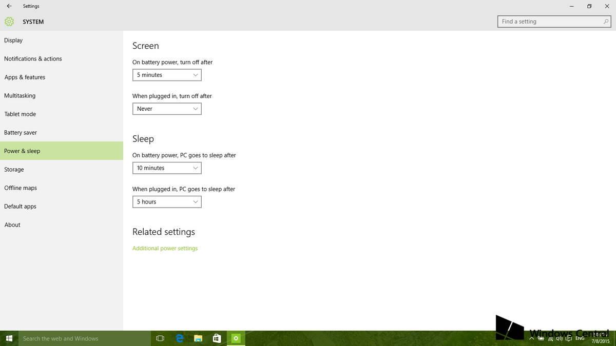 Aumentare durata della batteria su Windows 10 Power e sleep