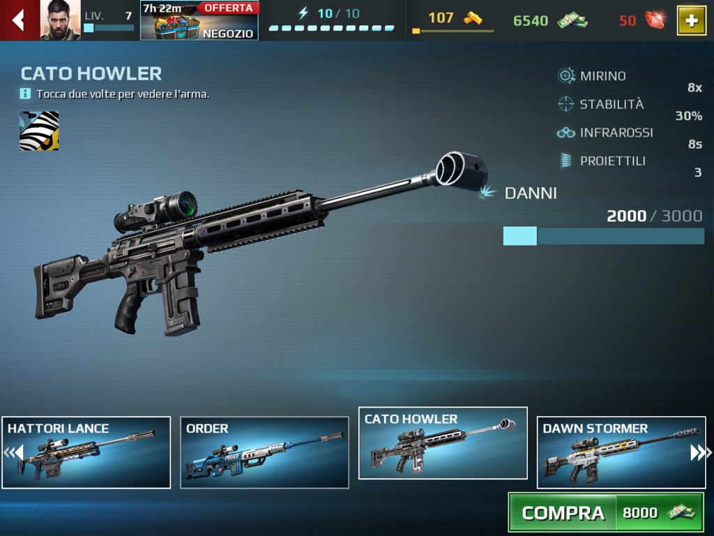 Recensione Sniper Fury Armi